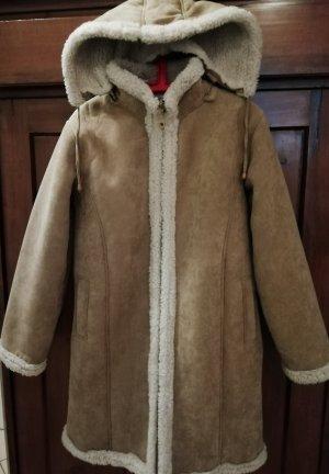 Manteau à capuche beige clair-chameau tissu mixte