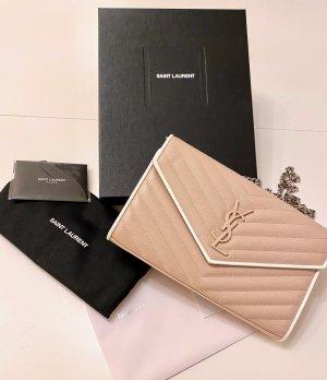 Wie Neu YSL Saint Laurent Monogramme Quilted Wallet Leat Pink Bianco Clutch