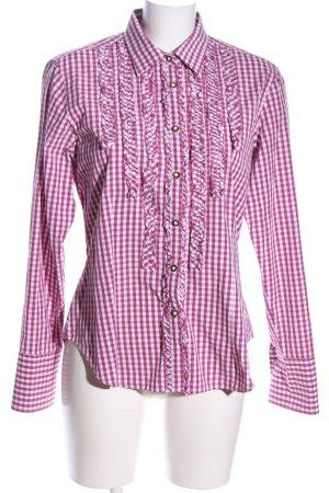 Wiesnkönig Trachtenbluse pink-weiß Karomuster Casual-Look