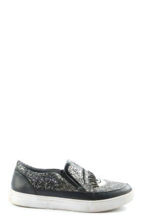 Wild Diva Slip-on Sneakers black themed print casual look