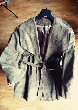 Długa kurtka szaro-brązowy