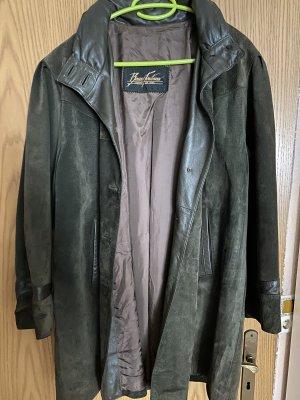 Bauza Fontana Manteau en cuir vert foncé-ocre