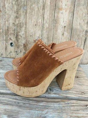 Wild-Leder Plateau Clogs Echtleder Pantoletten braun Leder Schuhe 39