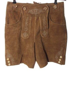 Wilderer Pantalon traditionnel en cuir brun style classique