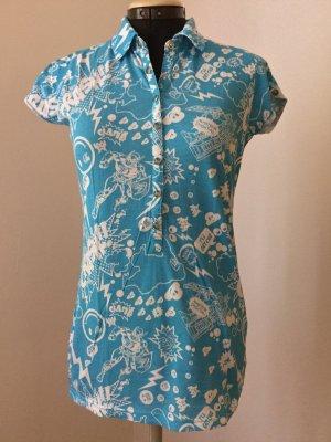 Tom Tailor Denim Print Shirt azure-white cotton