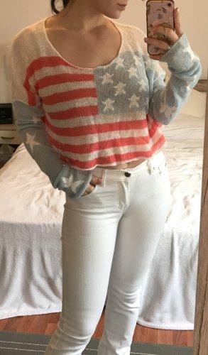 Wildfox Crop Pullover Pulli Gr. L 40 USA Amerika Shirt Oberteil Strick Sommer