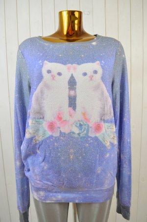 WILDFOX Damen Sweatshirt Print Katzen Bunt Kuschelig Viskose Stretch Oversized S