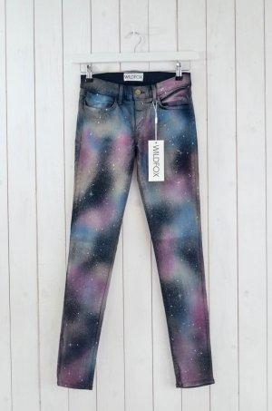 WILDFOX Jeans Skinny Mod.Marianne Col.Heaven Schwarz Lila Grün Weiß Gr.26