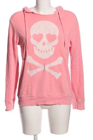 Wildfox Felpa con cappuccio rosa-bianco Stampa a tema stile atletico