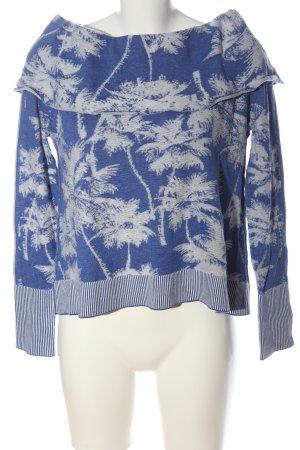 Wildfox Maglione lavorato a maglia blu-bianco Stampa a tema stile casual