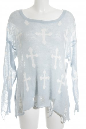 Wildfox Strickpullover babyblau-weiß Street-Fashion-Look