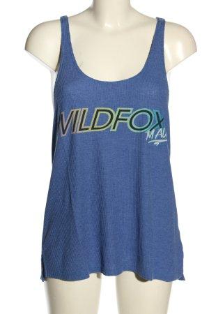 Wildfox Tanktop blau Schriftzug gedruckt Casual-Look