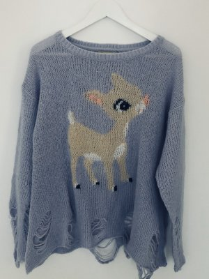 Wildfox White Label Pullover Knit Sweater Bambi Reh Strick Flieder Gr. XS