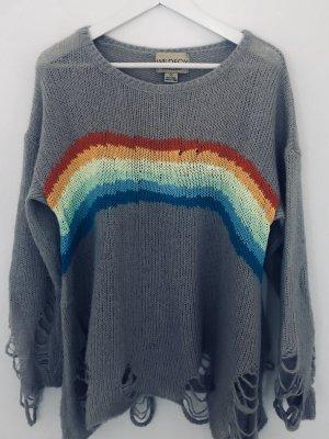 Wildfox White Label Pullover Strick Knit Sweater Grau Rainbow Bunt Oversize Gr. XS