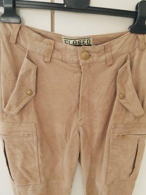 Closed Pantalone in pelle bianco sporco Scamosciato