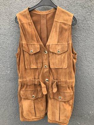 Chaleco de cuero marrón arena-marrón claro