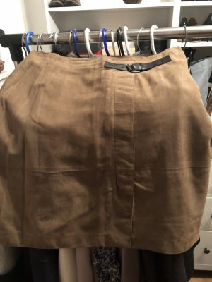 Caroll Leather Skirt light brown suede