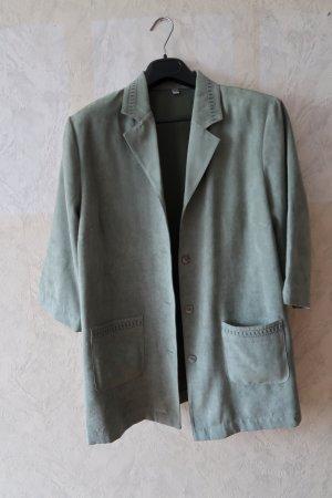 Blusa de cuero gris pizarra