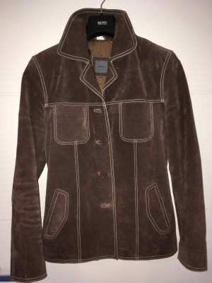 Montego Veste en cuir brun foncé-brun noir cuir