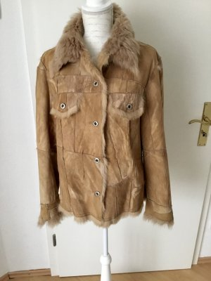 Concept UK Leather Jacket sand brown-camel suede