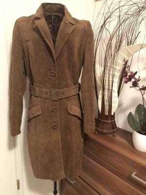 C&A Abrigo de cuero marrón
