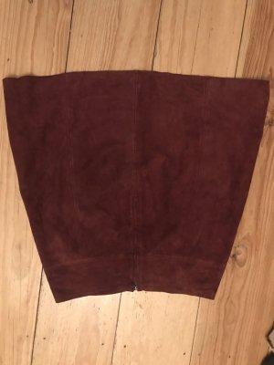 Hallhuber Leather Skirt bordeaux-dark green