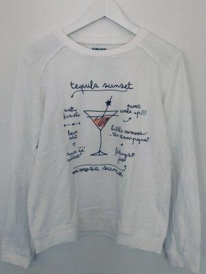Wildreamers Sweatshirt Sweater Basic Print Weiß Rundhals Tequila Sunset Gr. S/M
