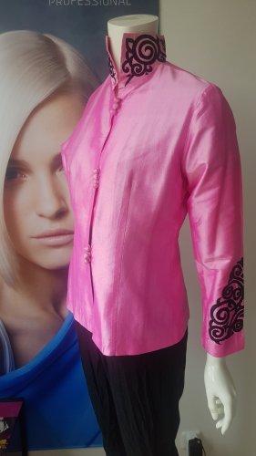 Anonyme Designers Lange blazer zwart-roze Zijde