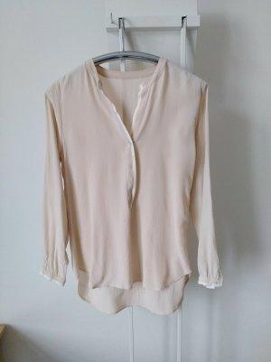 Blusa de seda blanco puro-rosa