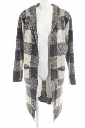 Willow & Paige Knitted Coat black-cream check pattern casual look