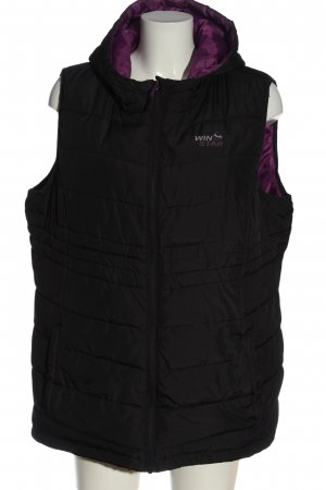 Win Star Chaleco con capucha negro estampado acolchado elegante
