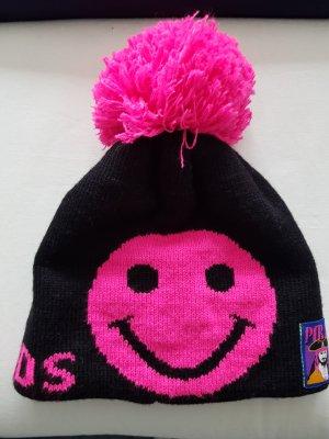 Cappello con pon pon multicolore