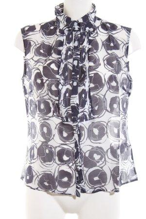 Windsor ärmellose Bluse weiß-schwarz Allover-Druck Casual-Look