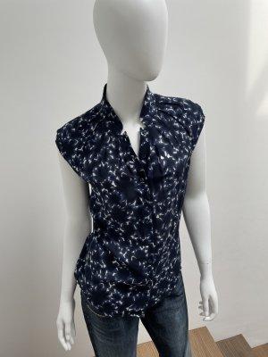 Windsor-Bluse/ Kurzarmbluse/Seidenbluse-Gr. S-dunkelblau/weiss-neu