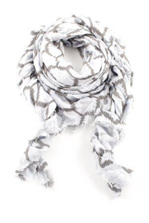 Windsor Fransenschal weiß-hellgrau grafisches Muster Casual-Look