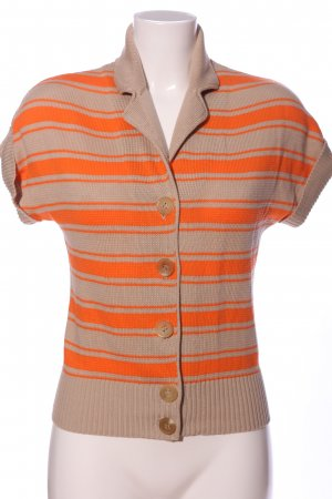 Windsor Short Sleeve Sweater natural white-light orange striped pattern