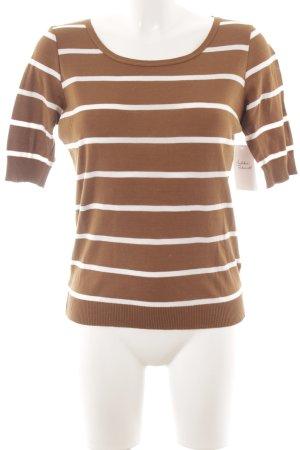 Windsor Kurzarmpullover hellbraun-weiß Streifenmuster Casual-Look