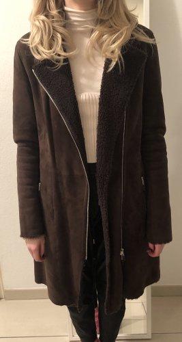 Windsor Manteau en cuir brun foncé
