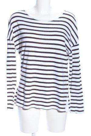 Windsor Strickpullover weiß-schwarz Streifenmuster Business-Look