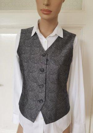 Windsor Weste Gilet Seide tailliert verstellbar grau/silber Paisley Knöpfe Gr.36