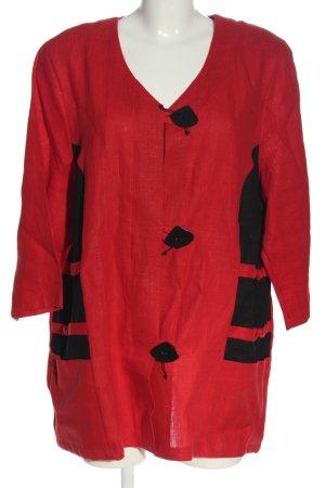 Winkler Blusenjacke rot-schwarz abstraktes Muster Casual-Look