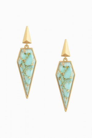 Stella & Dot Dangle gold-colored-turquoise