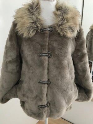 Winter Felljacke Gr. 36/38 braun beige grau Übergangsjacke Jacke