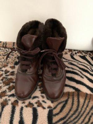 Winter Flach Boots Leder Schuhe mit Fell gefüttert Gr 36-37 von