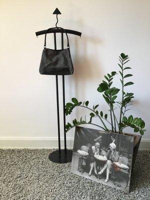 Winter-HANDTASCHE / schwarz / weiß / Salz & Pfeffer / Hahnentrittmuster / Wolle & Kunstleder / Vintage