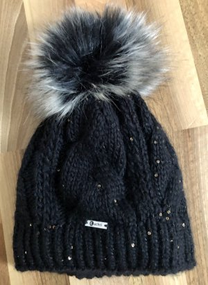 Winter Haube mit Fellbommel (fake fur)