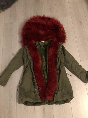 Fake Fur Jacket dark green-red