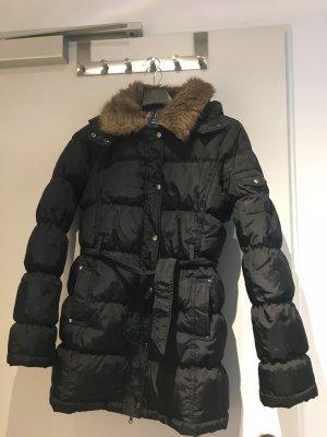 Winter Jacke Mantel Daunen künstliches Fell Kapuze schwarz L