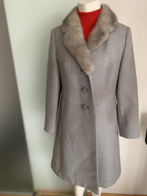 Winter Mantel mit Nerz Kragen Gr 38 40 L von Ravens Wolle Kammgarn