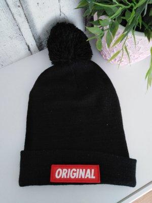 winter Mütze original schwarz rot hipster mit Bommel